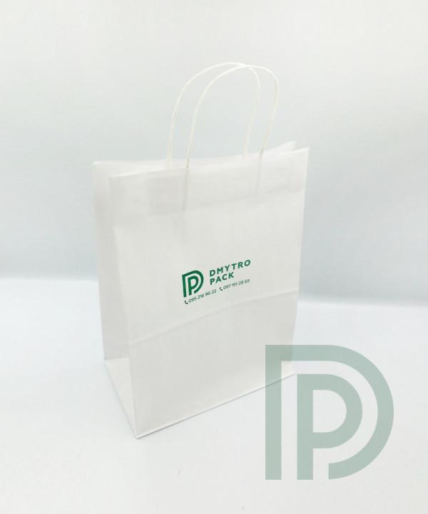 Крафтовый пакет белый с Вашим логотипом